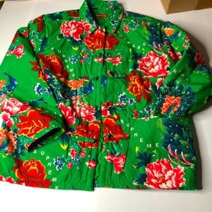 Supreme Green Quilted Peacock Jacket Mens Medium